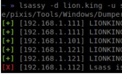 Lsassy:Python库,批量从目标主机远程提取用户凭据。Python库使用impacket项目从lsass导出数据中远程读取所需的字节